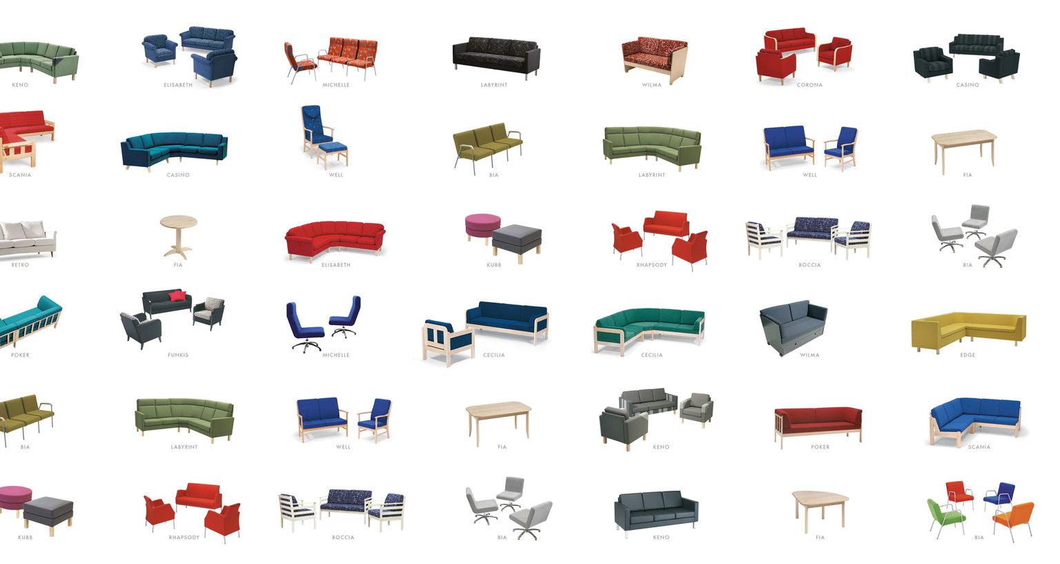 Mjuka möbler för gemensamma miljöer